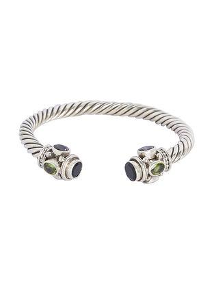 Purple-Green Tribal Sterling Silver Cuff