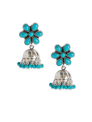 Turquoise Sterling Silver Jhumkis