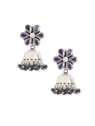 Blue Sterling Silver Jhumkis