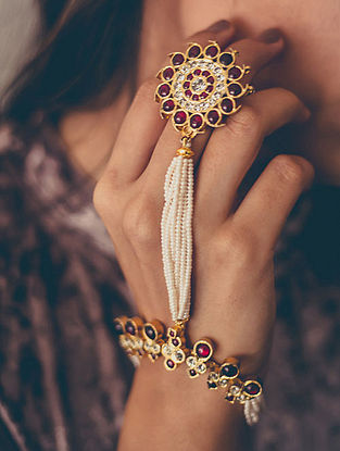 Red Gold-plated Silver Hathphool with Pearls