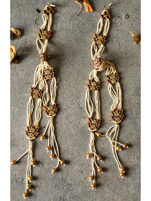 Red Gold-plated Silver Earrings with Pearls