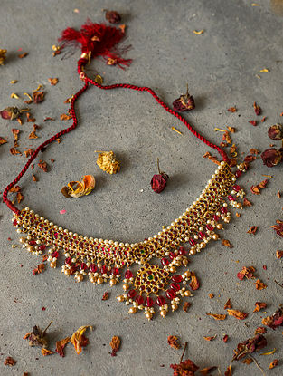 Ruby and Pearl Gold-plated Silver Necklace