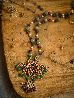 Maroon Green Gold Plated Silver Necklace with Pearls