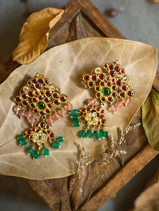 Multicolored Gold Plated Silver Earrings