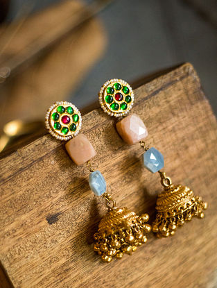 Multicolored Gold Plated Silver Jhumki Earrings