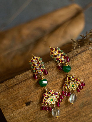 Maroon Green Gold Plated Silver Earrings
