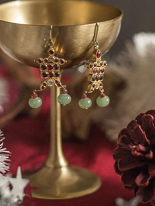 Maroon Green Gold-plated Silver Earrings