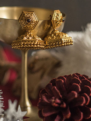 Maroon Gold-plated Silver Jhumki Earrings