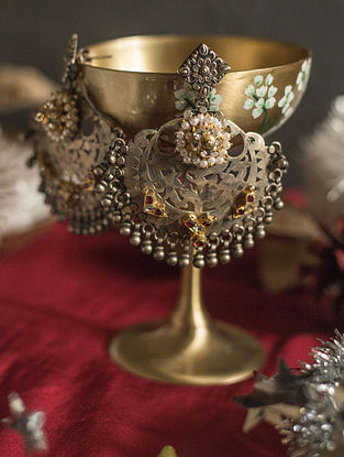 Maroon Gold Plated Silver Chandbali Earrings with Pearls
