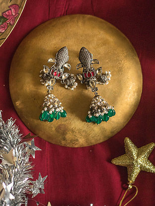 Multicolored Gold-plated Silver Jhumki Earrings with Pearls