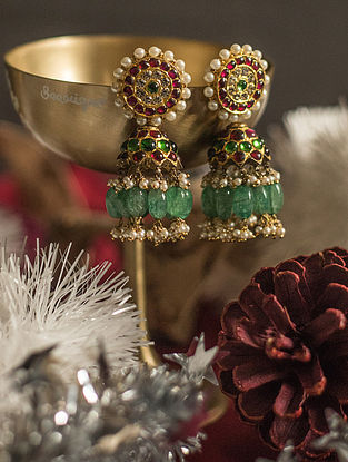 Maroon Green Gold-plated Silver Jhumki Earrings