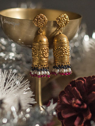 Purple Pink Gold-plated Silver Jhumki Earrings with Pearls
