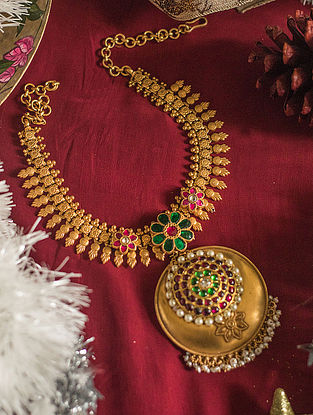 Maroon Green Gold-plated Silver Necklace with Pearls