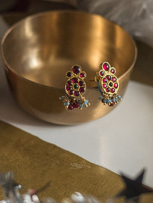 Maroon Blue Gold-plated Silver Earrings
