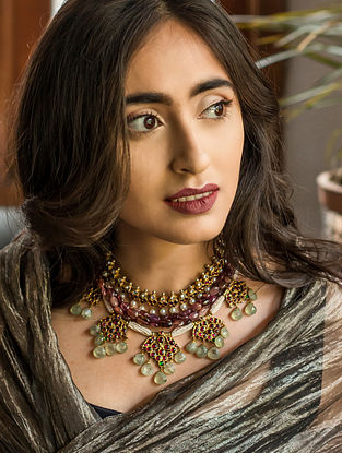Multicolored Gold-plated Silver Necklace with Pearls