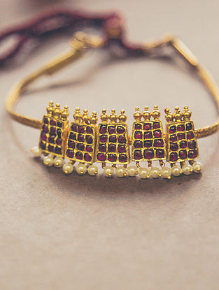 Maroon Gold-plated Silver Necklace with Pearls