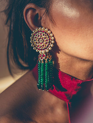 Maroon Green Gold-plated Silver Earrings with Pearls