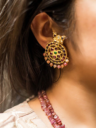 Multicolored Gold-plated Silver Earrings