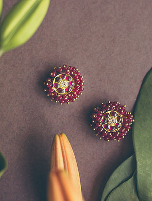 Maroon Gold-plated Silver Earrings