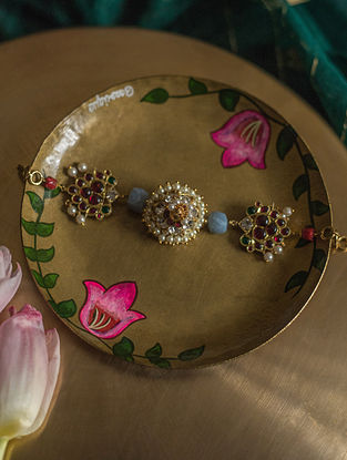 Multicolored Gold Plated Silver Bracelet with Pearls