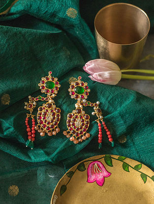 Multicolored Gold Plated Silver Earrings with Pearls