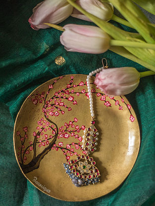 Multicolored Gold Plated Silver Maangtikka with Pearls
