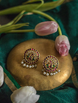 Maroon Green Gold Plated Silver Earrings with Pearls