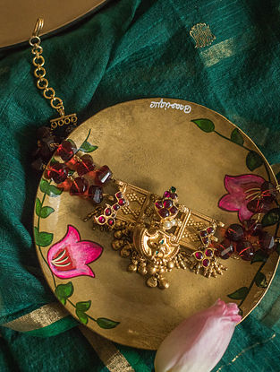 Maroon Green Gold Plated Silver Temple Necklace