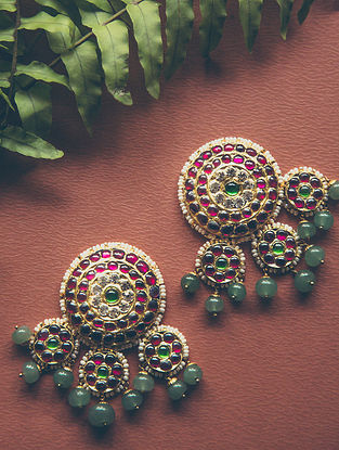 Red-Green Gold-plated Silver Earrings with Pearls