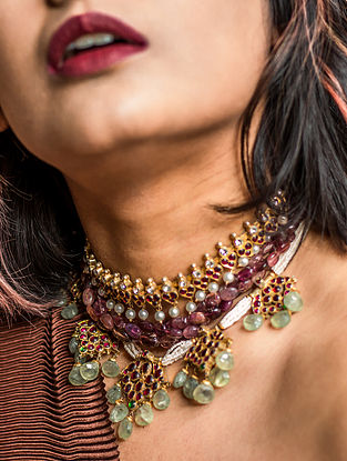 Tourmaline and Prehnite Gold-plated Silver Necklace
