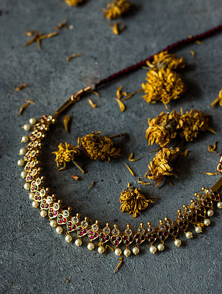 Red Gold-plated Silver Necklace with Pearls