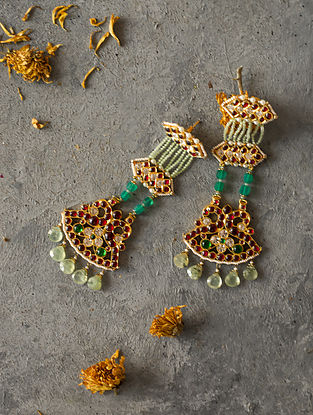 Prehnite Gold-plated Silver Earrings with Pearls