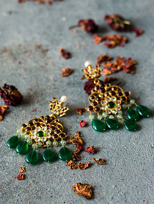 Green Onyx and Prehnite Gold-plated Silver Earrings