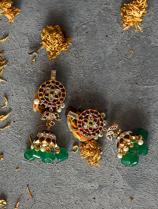 Onyx Gold-plated Silver Jhumkis