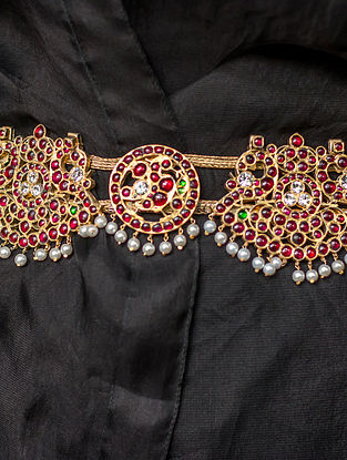 Red-Green Gold-plated Silver Kamarbandh