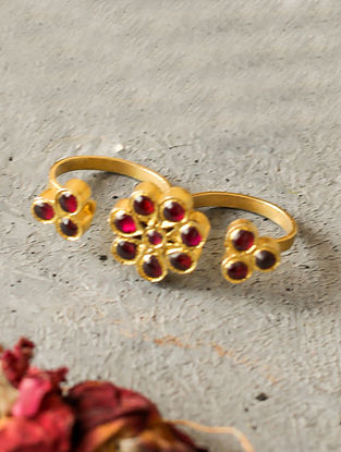 Red Adjustable Gold-plated Silver Ring