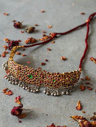 Red-Green Gold-plated Silver Necklace
