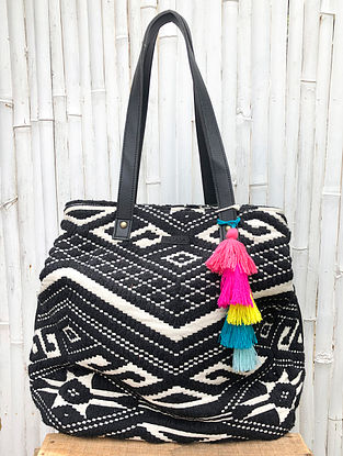 Black White Handcrafted Cotton Jacquard Tote Bag