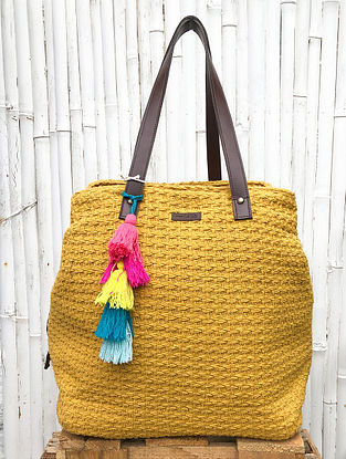 Mustard Handcrafted Cotton Jacquard Tote Bag