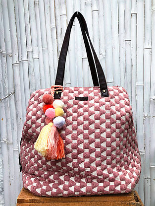 Pink White Handcrafted Cotton Jacquard Tote Bag