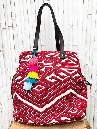 Red White Handcrafted Cotton Jacquard Tote Bag