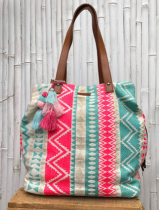 Multicolored Handcrafted Cotton Jacquard Tote Bag