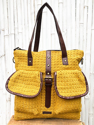 Mustard Handcrafted Cotton Jacquard Tote cum Backpack