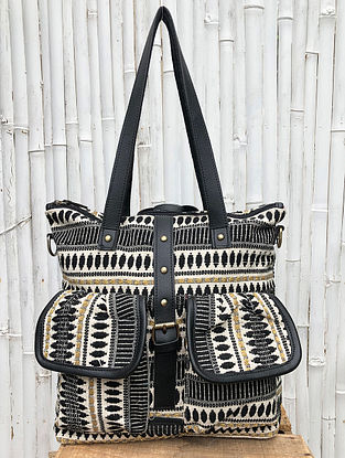 Black White Handcrafted Cotton Jacquard Tote cum Backpack