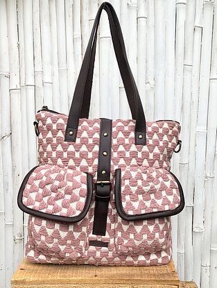 Pink White Handcrafted Cotton Jacquard Tote cum Backpack