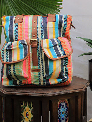Multicolored Handcrafted Cotton Jacquard Tote cum Backpack