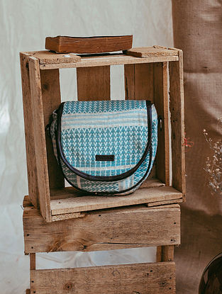 Powder Blue White Handcrafted Cotton Jacquard Sling Bag