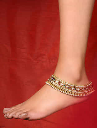 Multicolored Gold Tone Handcrafted Anklets
