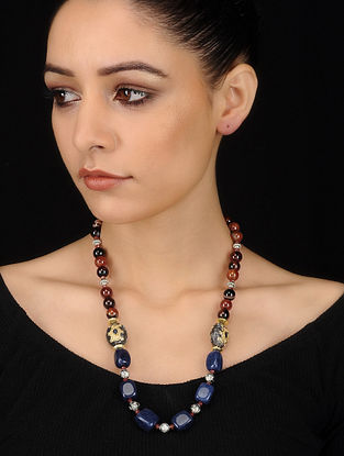 Blue-Brown Banded Agate and Jade Beaded Necklace