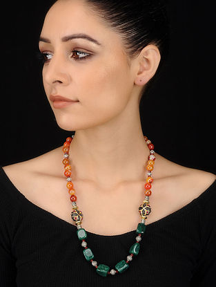 Green-Orange Banded Agate and Jade Beaded Necklace